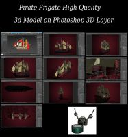 Pirate Frigate Photoshop 3D Layer by ArthurRamsey