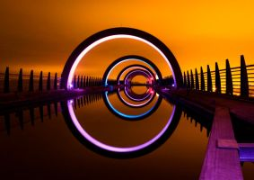 The Falkirk Wheel at Night by kharashov