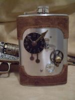 SkullHead - Steampunk Flask by Justenjoyinglife