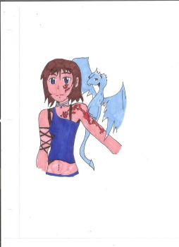 Anime Girl with dragon Completely colored by roxasheartaxel
