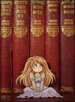 Alice and the old books - paperchild by tea-bug