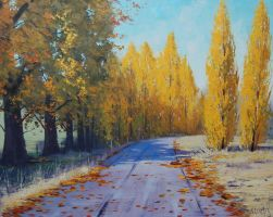 Autumn Road Tarana Painting by artsaus
