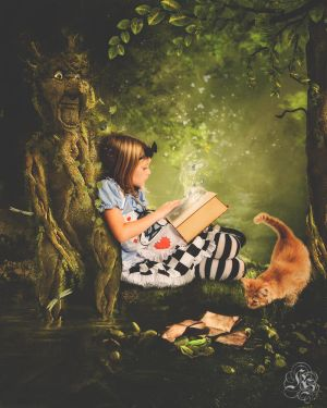 Alice reading a book by Quijuka