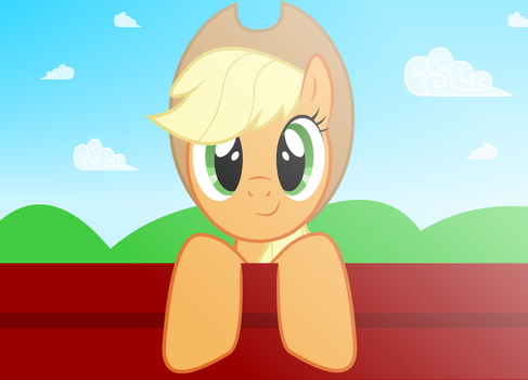 Applejack Looking From the Wall by GrayTyphoon