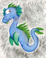 Watercolour water dragon by concordexlover