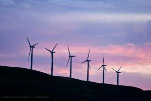 Windmills at Sunset II by inessentialstuff