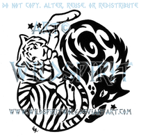 Yin Yang Tiger And Wolf Tribal Design by WildSpiritWolf