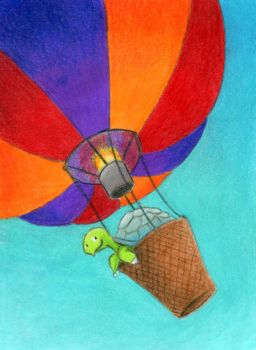 Tortoise in a Hot Air Balloon ATC by tursiart