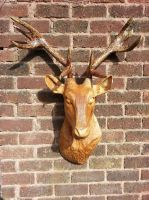 stag head wood sculpture by simon patel by simondrawme