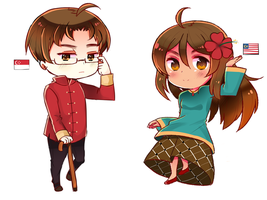 Chibi Singapore and Malaysia by Otromeru