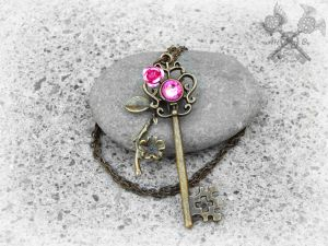 Pink Cherry Blossom Key Necklace by ArtByStarlaMoore