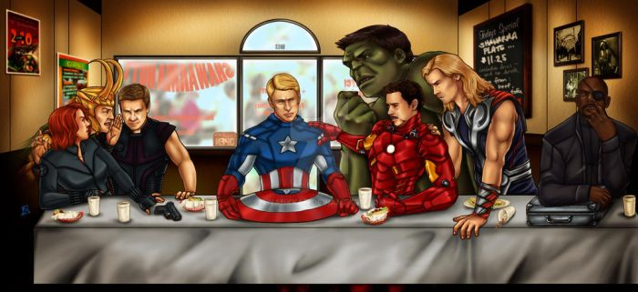 The Avengers' Last Supper by swankkat