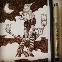 Inktober Day 23: Hipster Witch! by Jackie-M-Illustrator