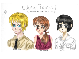 WP Character Designs: Emerich, Francesca, and Hiro by bookworm555