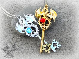 Fire and Ice Key to my Heart Necklace Set by ArtByStarlaMoore