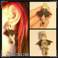 Bite me Stone Dragon Earrings by Spaztazm by spaztazm