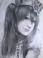 Miku Hatsune Cosplay Drawing by PhantomButler
