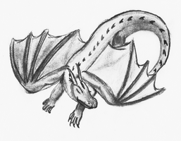 Sleeping Dragon Pencil Drawing by TheUnknownety