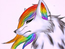 Tuska the rainbow wolf: revamped by HollowGirl44
