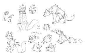 Wolf sketches by Chaotic-Tide