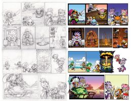 Off Panels: Sonic Universe 55-58 Roughs vs Final by chibi-jen-hen