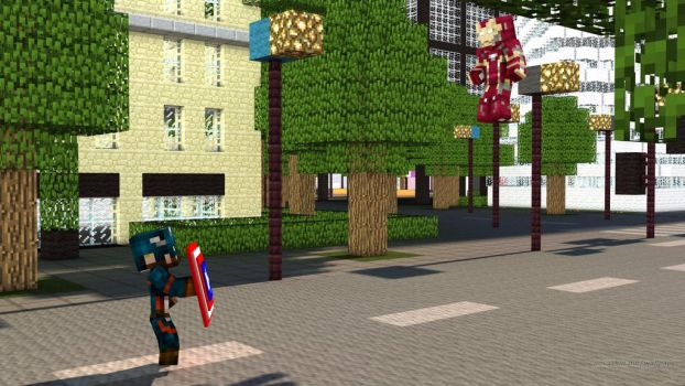 Captain America VS. Iron Man!!! (Minecraft Style) by KaylaDeviant16