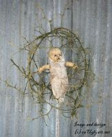 Thorn Cradle Doll Assemblage by uglyshyla
