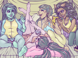 Ghouls Sleep Over by HuntingDaphne