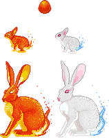 Flame Hare Adoptables by tahbikat