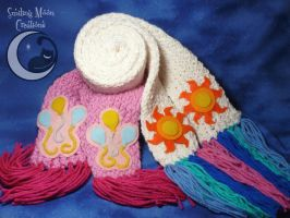 Celestia + Pinkie Pie Scarves for BlueSkyie by SmilingMoonCreations