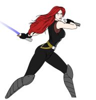 Colored Mara Jade Lineart by Selinelle