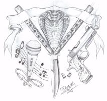 Gang Knife Gun Tattoo Design by 2Face-Tattoo