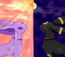 Espeon and Umbreon by LazyOrca