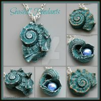 Aqua Blue Seashell Pendants by MandarinMoon