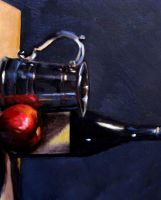 still life with a wine bottle by EthicallyChallenged