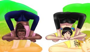 Donni and Julia practice Yoga by roemesquita