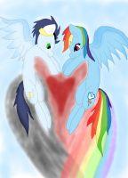 Rainbow and soarin making a heart in the sky by daylover1313