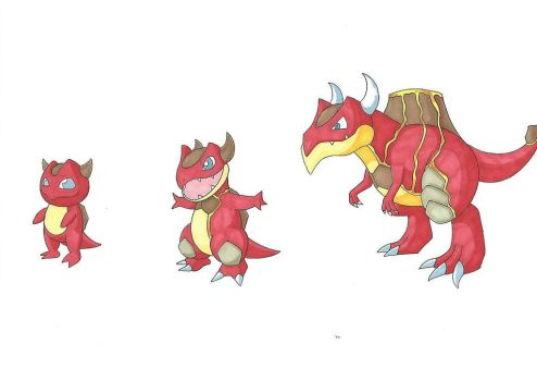 [Fakemon] #004 - #006 Fire Starters by FalconBaz