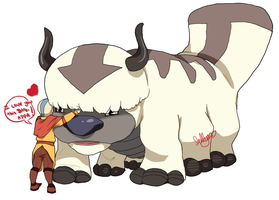 Aang and Appa Best Friends Forever by jellyso