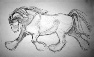 Sketchbook: Trotting Horse II by newfka