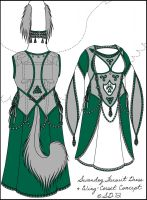 Updated--Swandog Fursuit Dress Wing Corset Concept by swandog