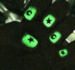 Glow-in-the-Dark Nails with Moons and Stars by AnonymousRabbitLover