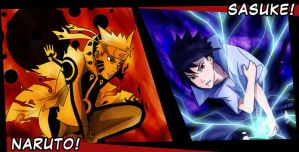 Naruto and Sasuke - Divided Rivers by solarwind06