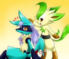 Leafeon and Lucario Girl by BiyomonCuty