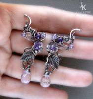 Silver studs On the wings of lavender wind by JuliaKotreJewelry
