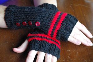 Black and Red Fingerless Gloves by AlleyKat666