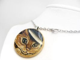 Merry Widow Hat Cat Pendant Necklace by sobeyondthis