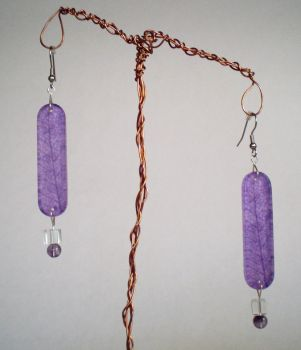 Purple Skeleton Leaf Earrings by cvtarver