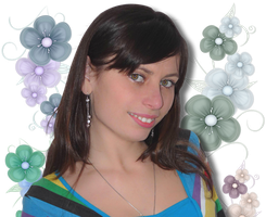 Ella and flowers png by Miha3lla