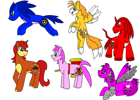 Sonic ponies by Skooterwolf